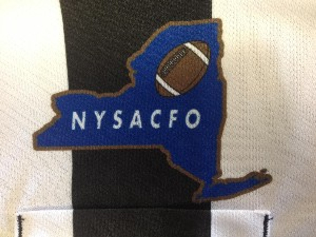 "Cliff Keen SK07NY, New York State Long-sleeve football officials' shirt, 2 1/4"" stripe, printed NYSACFO logo"
