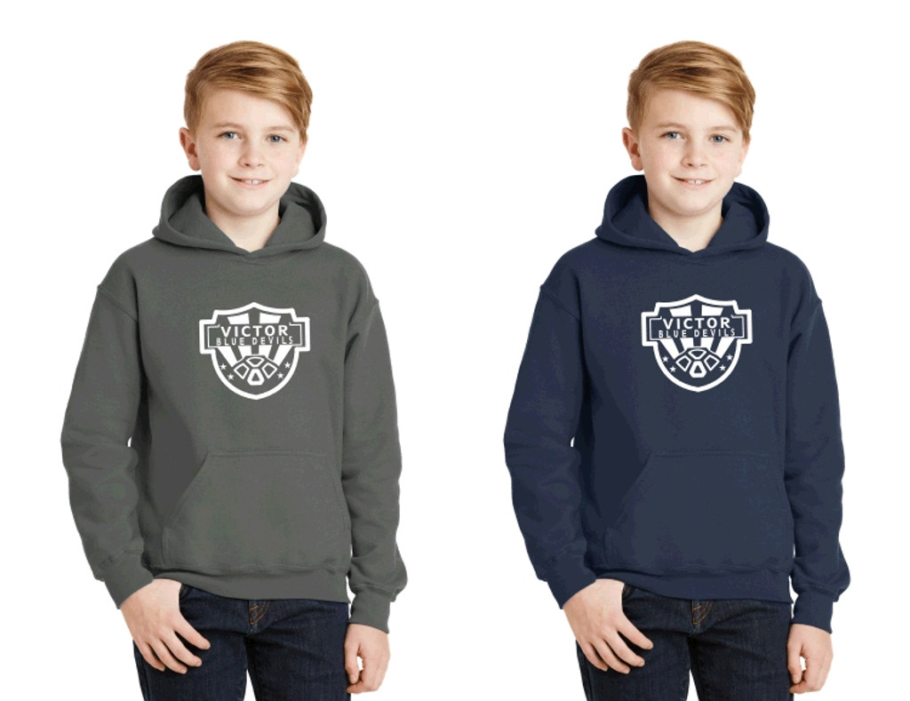 Youth Cotton Hooded Sweatshirt w/ Printed Logo