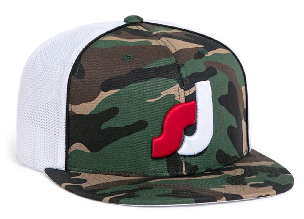 Pacific Headwear 8D8 Camo Flat Bill Flexfit Trucker Hat