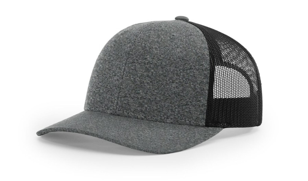 2938837b5e3498 Richardson 115CH Low Pro Heather Trucker Snapback Mesh Adjustable Hat