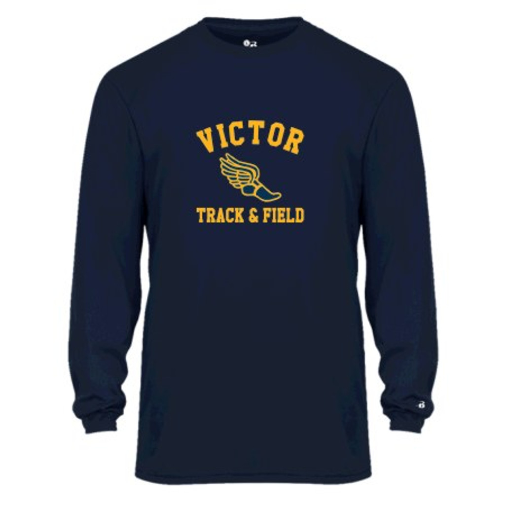 Performance Long-Sleeve T shirt w/ printed logo, Adult sized Victor Track