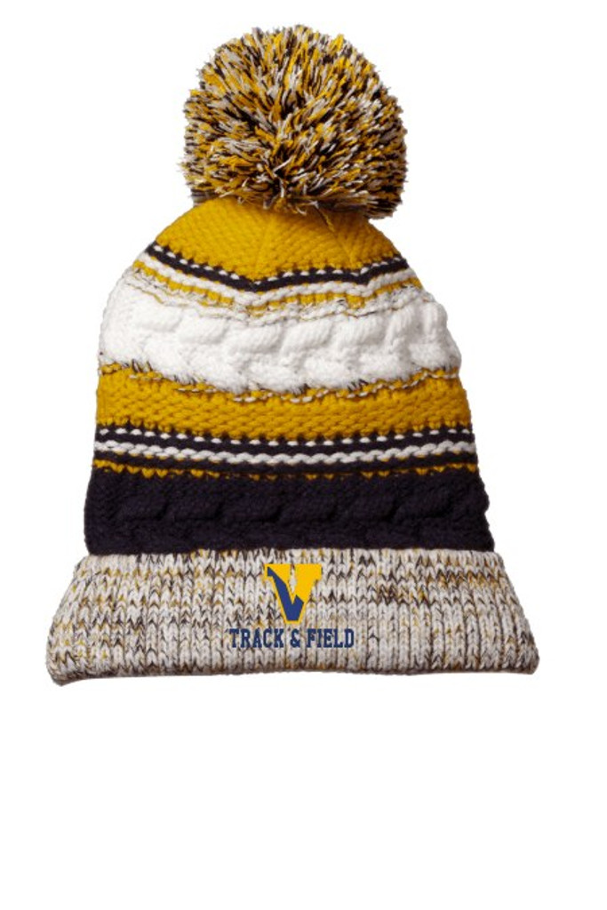 Multi-colored Knit Winter Hat w/ Pom Pom & Embroidered Victor Track