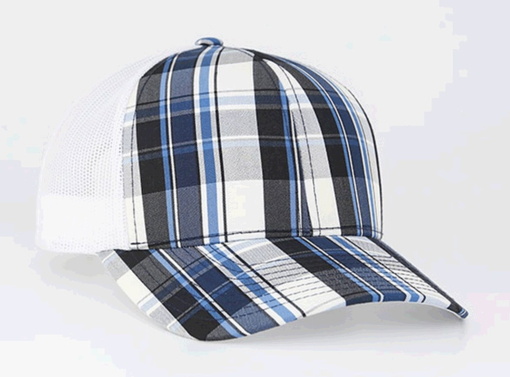 Pacific Headwear 109C Plaid Snapback Adjustable Trucker Hat