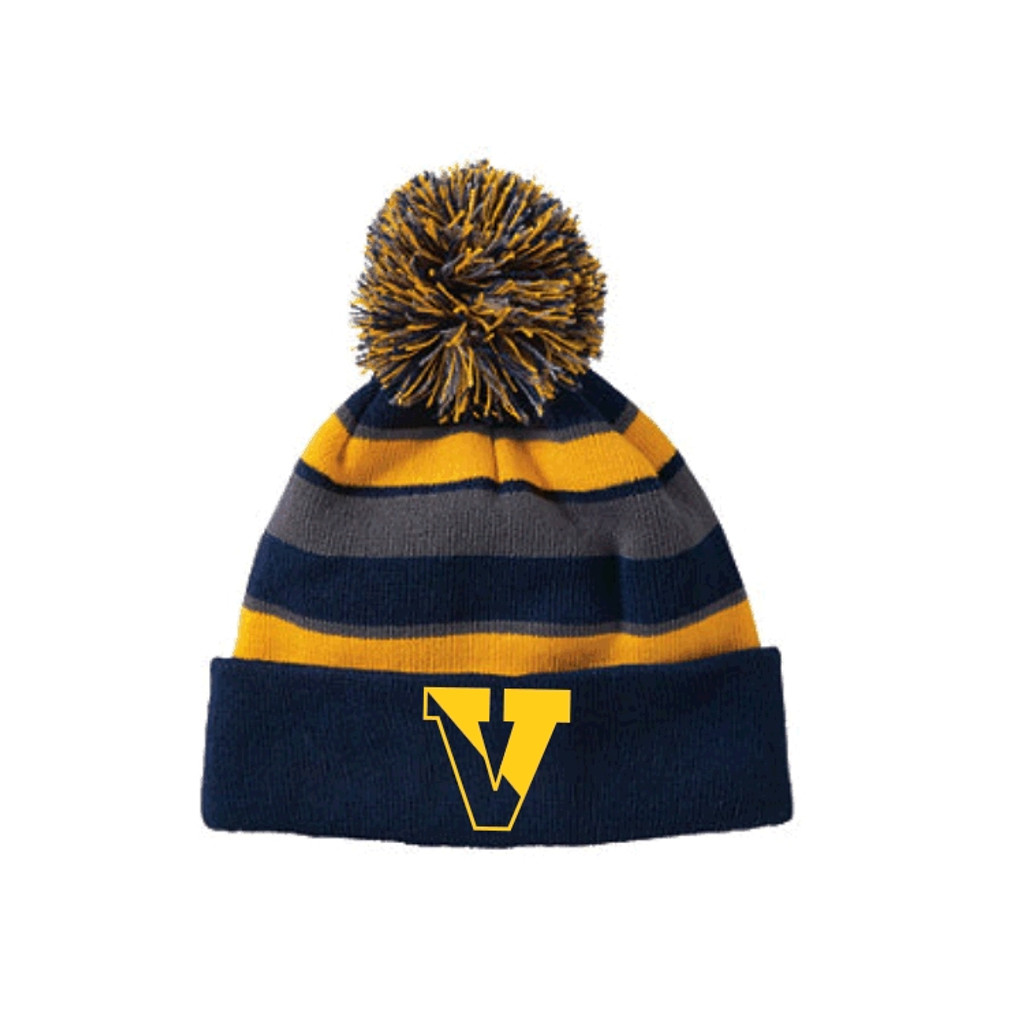 Winter knit hat, tri-colored, with pom pom VICTOR DFS
