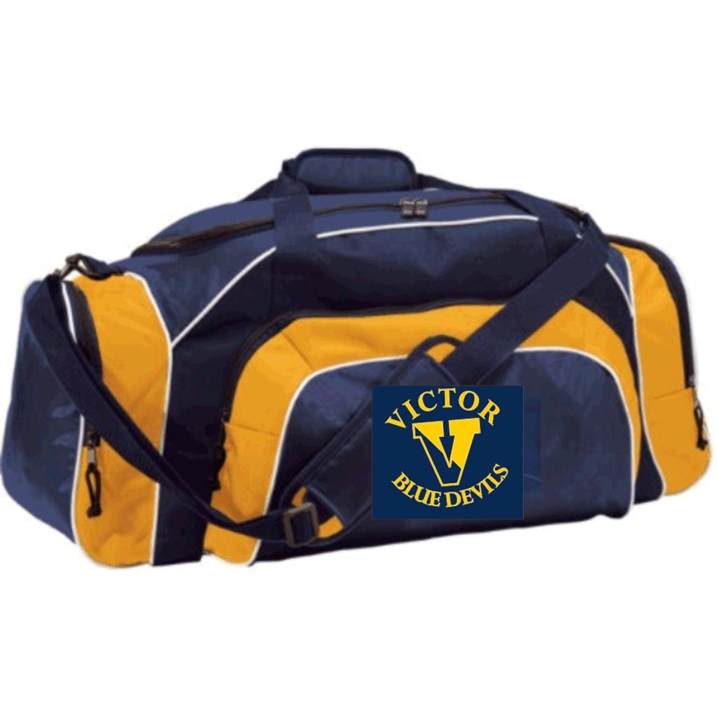 "Duffle bag, 28"" x 13"" x 14"",  Victor Blue Devils Logo"