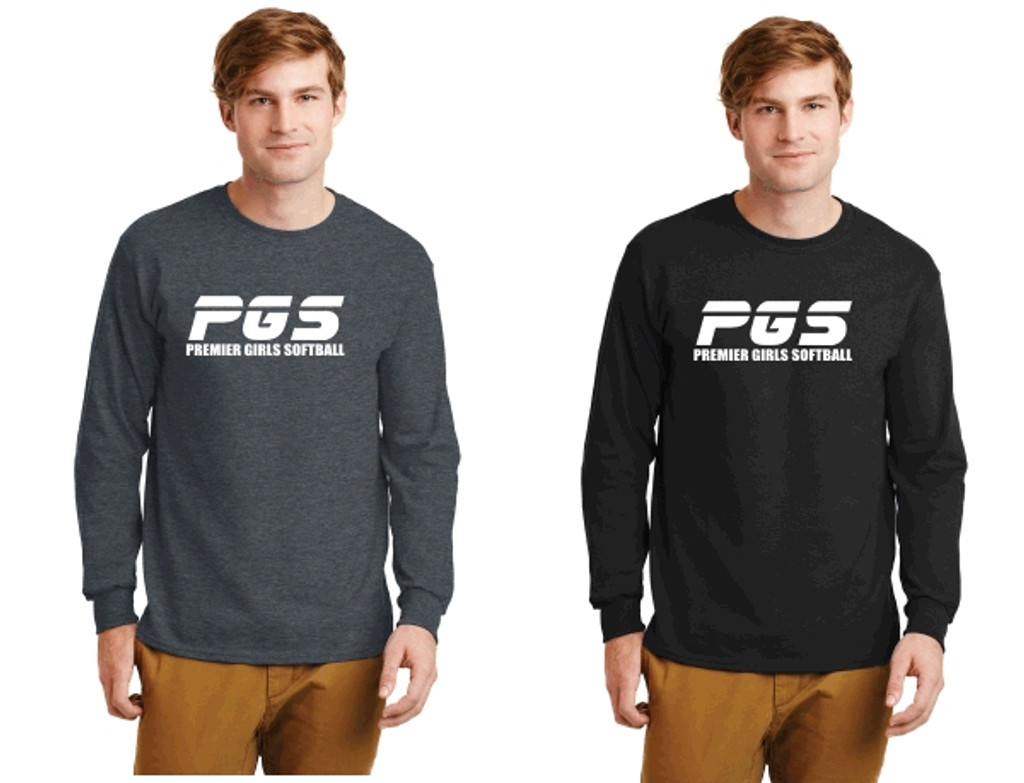 Cotton Long-Sleeve T-Shirt w/ Printed Logo, Adult, PGS