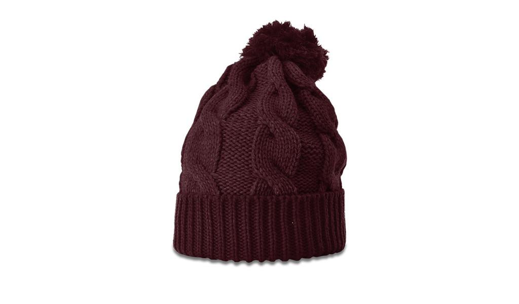 Richardson 141 Chunk Twist Knit beanie w/ cuff & pom