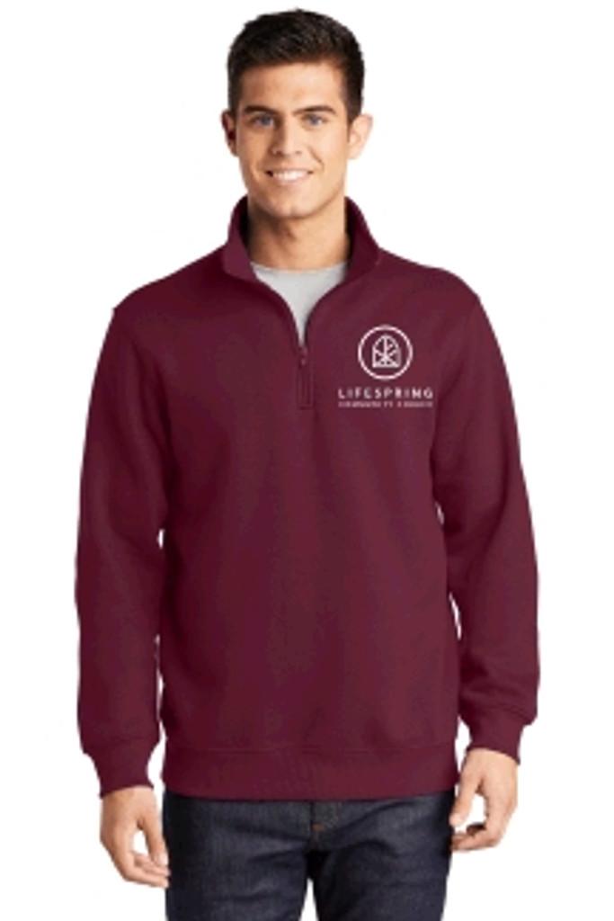Cotton 1/4-Zip Sweatshirt w/ printed log LIFESPRING