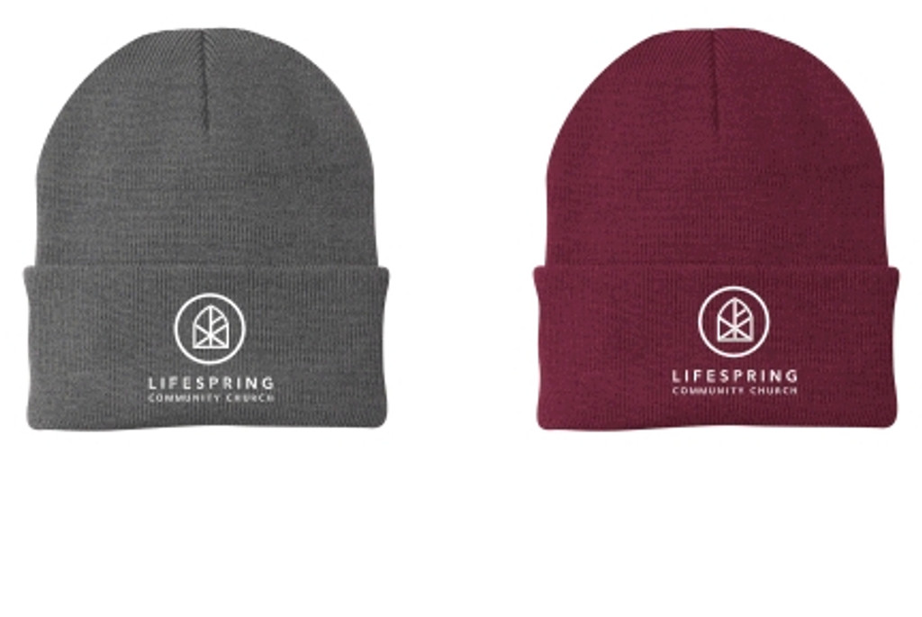 Knit Winter hat w/ fold over front & Embroidered logo LIFESPRING