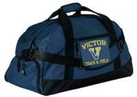 Navy blue duffle bag w/ shoulder strap & embroidered logo