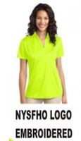 Ladies' Performance V-neck Polo Shirt w/ Embroidered Logo