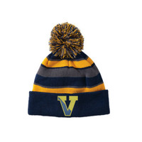 Winter Knit Hat, Tri-Colored, with Pom Pom and Embroidered Logo 5
