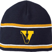 Winter Knit Beanie, Navy Blue w/ Striping VICTOR DFS