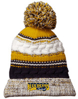 Multi-colored Knit Winter Hat w/ Pom Pom & Embroidered Victor Softball