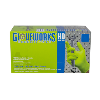Gloveworks HD Green Nitrile Industrial Latex Free Disposable Work Gloves (1,000 Piece Case - 10 Boxes of 100)