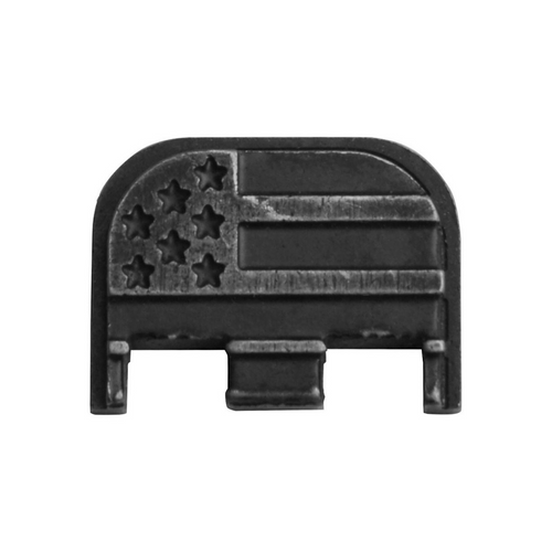 Stainless Steel Slide Rear Cover Plate for Glock - American Flag - Stone Washed, GBP-S-AFSW