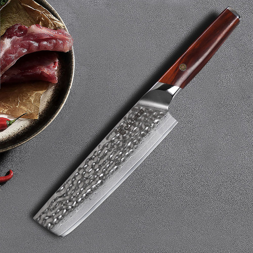 "7"" Nakiri Hammered VG10 Damascus Steel Kitchen Knife w/ Cocobolo Wood Handle 7197D-CB"