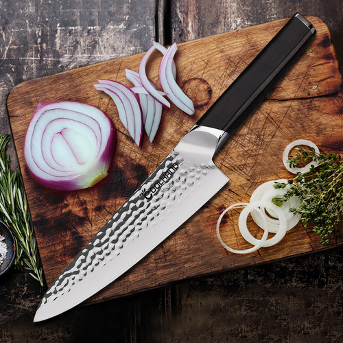 8'' Chef Hammered 440C Sandwich Steel Kitchen Knife with Ebony Handle 7198C-E