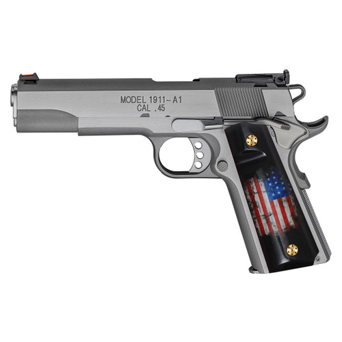 1911 Full Size Patriotic Grips with USA Flag (Government/Commander), High Polished Acrylic, Ambi Safety Cut, H1-S-ACUSFB