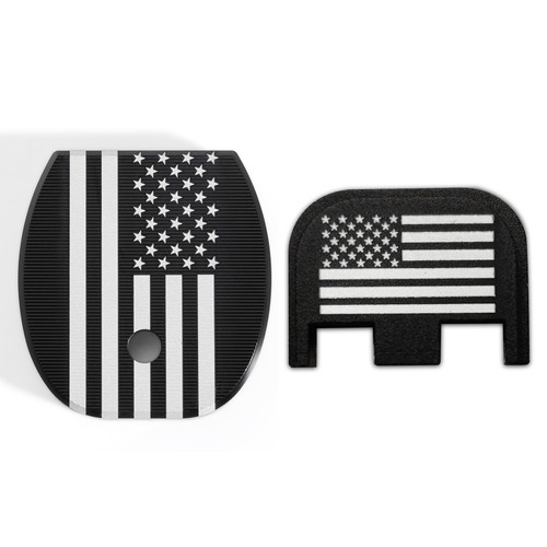 US Flag Slide Back Plate and Magazine Floor Plate for Glock, Fits Most Glock Models Gen 1-5, Pistol 9x19mm, American Flag Logo, GCOM-A-AF