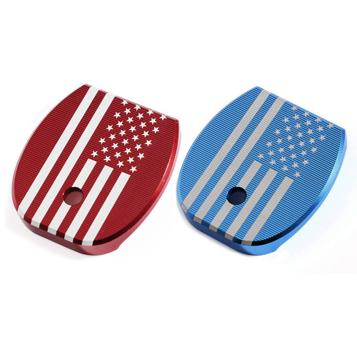 2 Pcs Aluminum Slide Back Plates, Fits Most Glock Pistol 9x19mm .40 S&M .357 SIG .45 Gap, Red &Blue, G1-AL-RBLAF