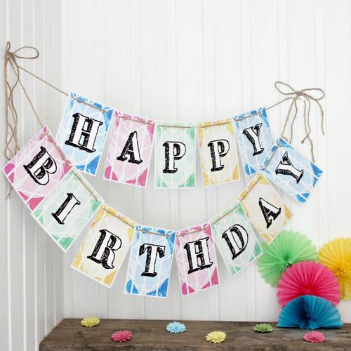 Happy Birthday Bunting. Bunting. Bright Bunting. Birthday Banner. Birthday Bunting. Party Decorations. Birthday Party. Garland. Decorations