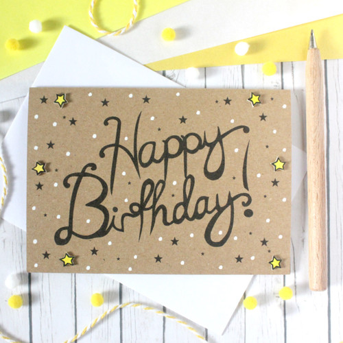 Handmade Birthday Card. Happy Birthday Card. Birthday Card. Birthday Cards. Happy Birthday Cards. Hand Lettered Birthday Card. Stars. Cards.