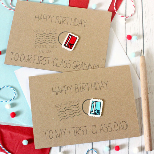 First Class Birthday Card. Happy Birthday Card. First Class Stamp. Postage Stamp. First Class Dad. First Class Mum. First Class. Red. Blue.