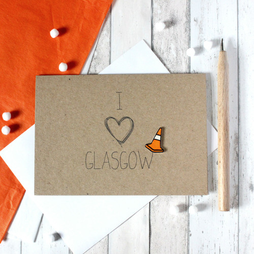Glasgow. Scottish Card. Handmade Glasgow Card. Scotland Card. Hello Card. I Heart. Heart. Traffic Cone. Card for Scottish Friend. Card for