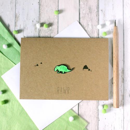 Handmade Dinosaur Card. Birthday Card. Boyfriend Card. Hello Card. Rawr. Dinosaur. Dinosaur Card. RAWR. Rawr card. Cute Dinosaur. Greenery