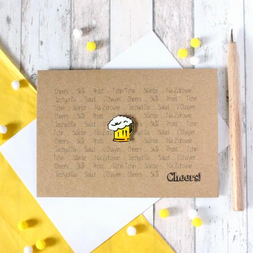 Cheers! Thank You Card. Congratulations Card. Happy Birthday Card. Handmade Card. Hello Card. Skol. Prost. Cheers Card. Beer. Beer Mug. Ale