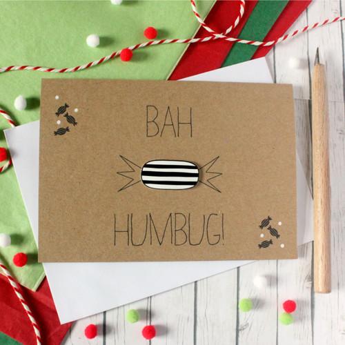 Bah Humbug Christmas Card. Handmade Christmas Card. Christmas Card. Xmas Card. Holiday Card. Christmas Card. Humbug. Handmade Christmas Card