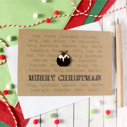 Christmas Pudding. Handmade Christmas Card. Xmas Card. Holiday Card.  Seasonal Card. Holiday Cards. Fun Christmas Card. Little Silverleaf