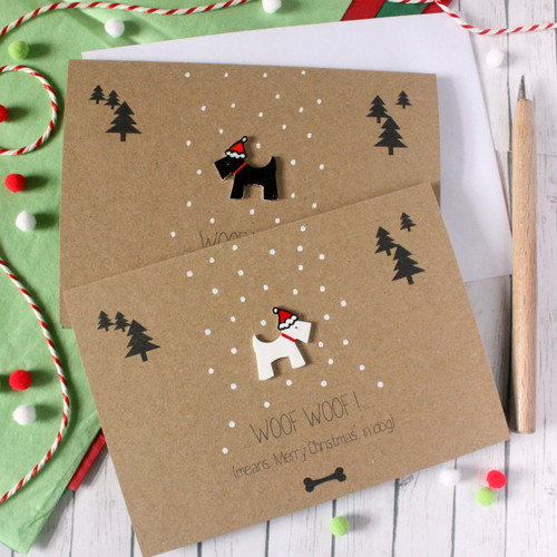 Handmade Christmas Card. Xmas Card. Holiday Card. Christmas Card. Christmas Cards. Scottie Dog. Dog Card. Card for Dog Lovers. Xmas. Puppy