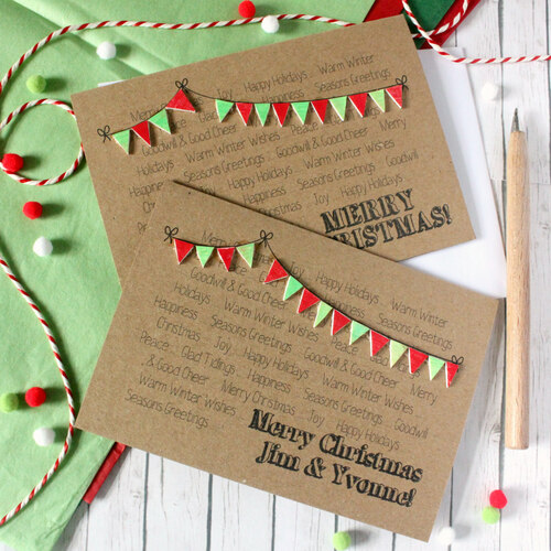 Personalised Christmas Card. Holiday Card. Xmas Card. Christmas Card. Christmas Cards. Christmas Bunting. Red Christmas. Green. Christmas.