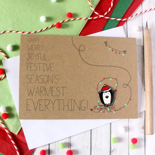 Penguin Christmas Card. Handmade Christmas Card. Christmas Card. Holiday Card. Penguin. Cute Penguin Card. Penguin Card. Christmas Cards.