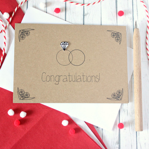 Wedding Congratulations Card. Handmade Wedding Card. Wedding Day Card. Wedding Rings Card. Diamond Rings. Engagement Ring Card. Ring Card