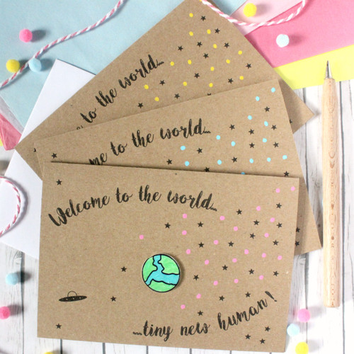 Welcome to the World. Tiny New Human. Personalised New Baby Card. Handmade New Baby Card. New Baby Card. Pink. Blue. Green. Yellow.