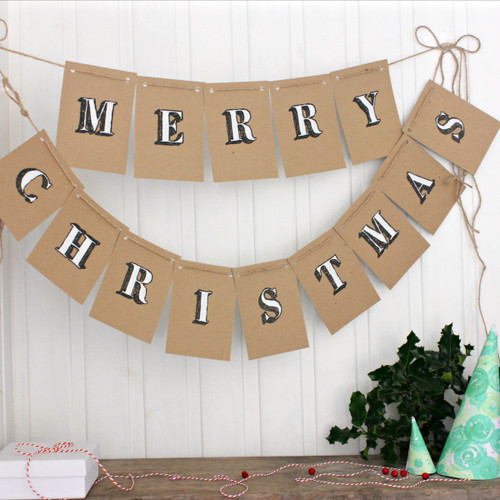 Christmas Bunting. Christmas Decorations. Christmas. Christmas Banner. Christmas Garland. Indoor Bunting. Merry Christmas. Kraft Bunting.