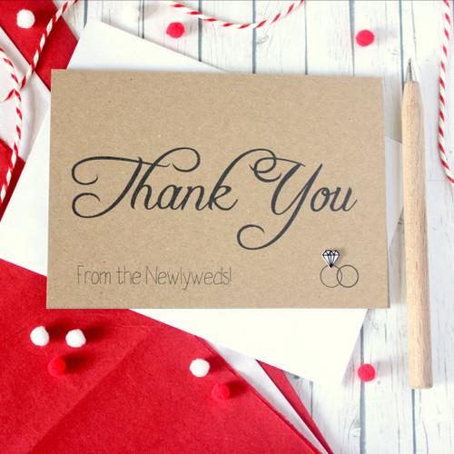 Thank You Card. Wedding Thank You Card. Thank You Rings Card. Thanks Card. Wedding Card. Wedding Cards. Wedding Thank You Cards. Handmade