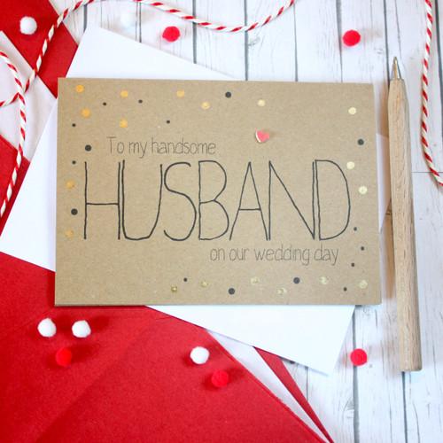 Husband Wedding Card. Husband Card. Handmade Husband Card. Husband. Husband Wedding Day Card. Card for my Husband. Gold Wedding Card. Gold Dots.
