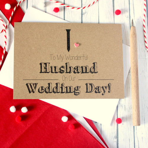 Handmade Wedding Card. Husband Card. Husband Wedding Card. Black Tie Card. Wedding Card for Husband. Wedding Day Card for Husband.