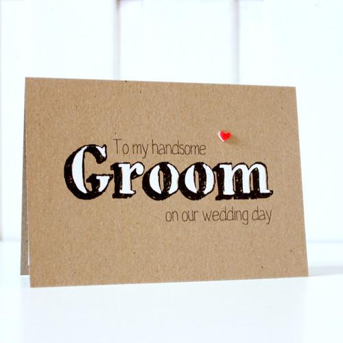 Groom Card. Handmade Wedding Card. Groom Wedding Card. Groom Wedding Day Card. Card for my Groom. Wedding Day Card for Groom. Rustic Wedding Card