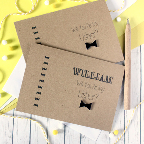 Wedding Usher Card. Handmade Wedding Card. Bow Tie Card. Will You Be My Usher. Usher Card. Bow Tie. Wedding Cards. Ushers. Usher Cards. Card