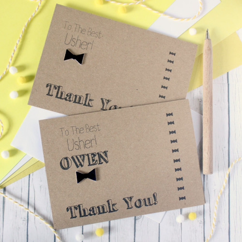 Usher Thank You Card. Usher Card. Handmade Wedding Card. Bow Tie Card. Thanks for Being My Usher. Best Usher. Wedding Day card. Bow T