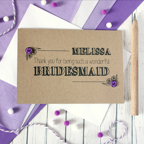 Personalised Bridesmaid Thank You Card. Bridesmaid Card. Personalised Bridesmaids Cards. Bridesmaids Card. Bridesmaid Thanks. Bridesmaid.