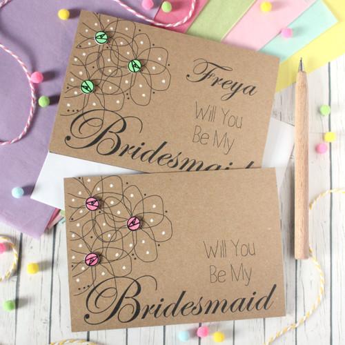 Personalised Bridesmaid Card. Bridesmaids Card. Bridesmaid Cards. Will You Be My Bridesmaid. Flowers. Be My Bridesmaid. Floral Wedding Card.