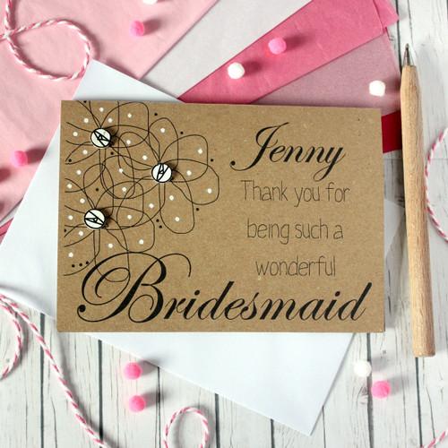 Personalised Bridesmaid Card. Personalised Bridesmaid Thank You Card. Thank You for being my Bridesmaid. Bridesmaid Thanks. Bridesmaid Card.