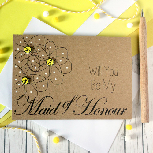 Personalised Maid of Honour Card. Be My Maid of Honour Card. Maid of Honour Card. Will You Be My Maid of Honour. Maid of Honour Ask Card. Wedding Card. Wedding. Maid of Honour. Maid of Honor. Floral Card. Flowers.