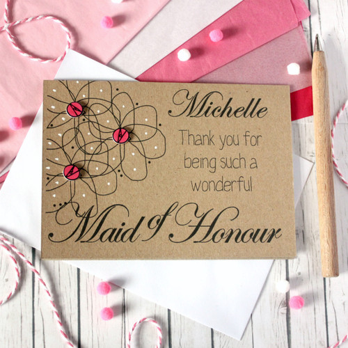 Personalised Maid of Honour Thank You Card. Maid of Honour Card. Personalised Maid of Honour Cards. Maid of Honour Cards. Maid of Honour Thanks. Maid of Honour. Maid of Honour Thank You. Maid of Honor. Floral Card. Flowers.
